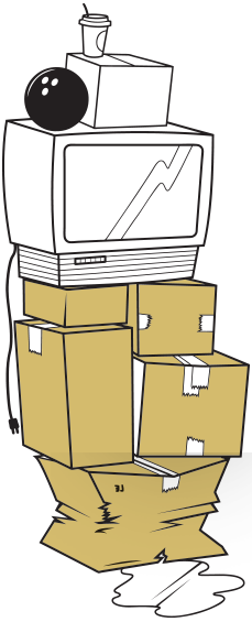 Drawing Of A Stack of Boxes, TV & Bowling Ball