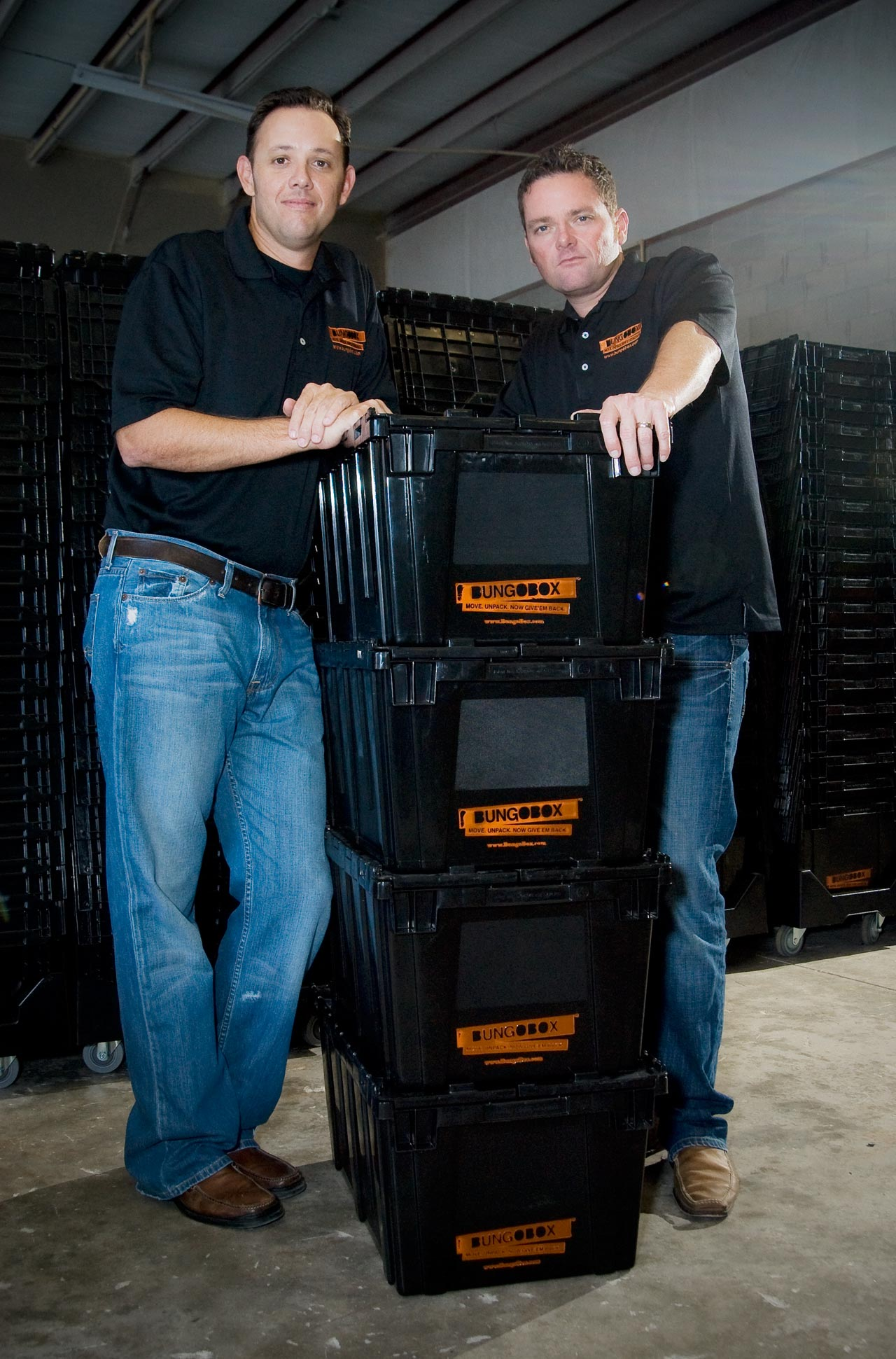 Bob and Tom Leaning On Stack Of BungoBox Boxes